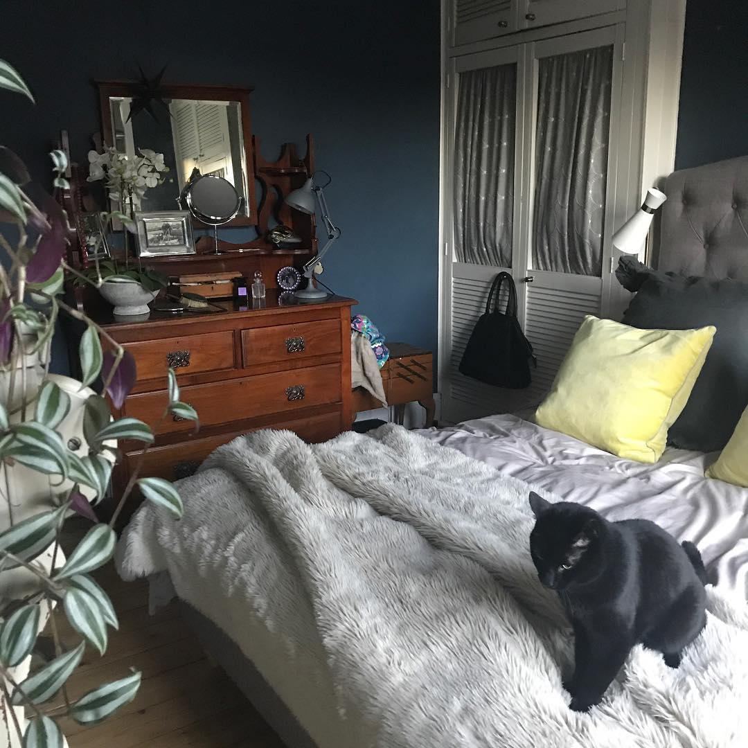 Yellow Room Color Palettes: Farrow & Ball Stiffkey Blue Painted Bedroom Walls