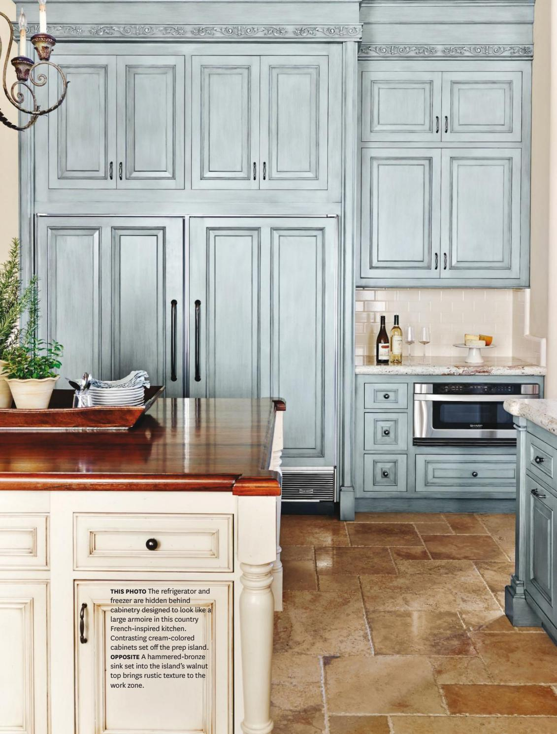 French country kitchen in blue color scheme interiors by for Country kitchen paint colors