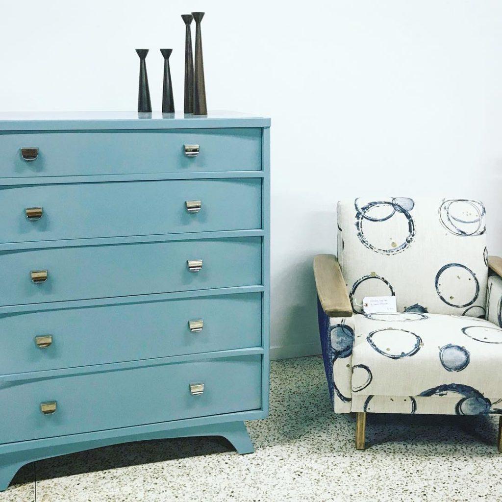 Furniture Painted in Benjamin Moore Wythe Blue Highboy