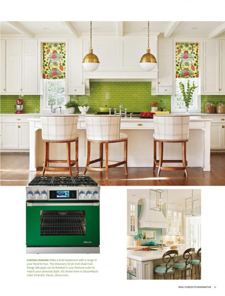 Green tile splashback in the kitchen