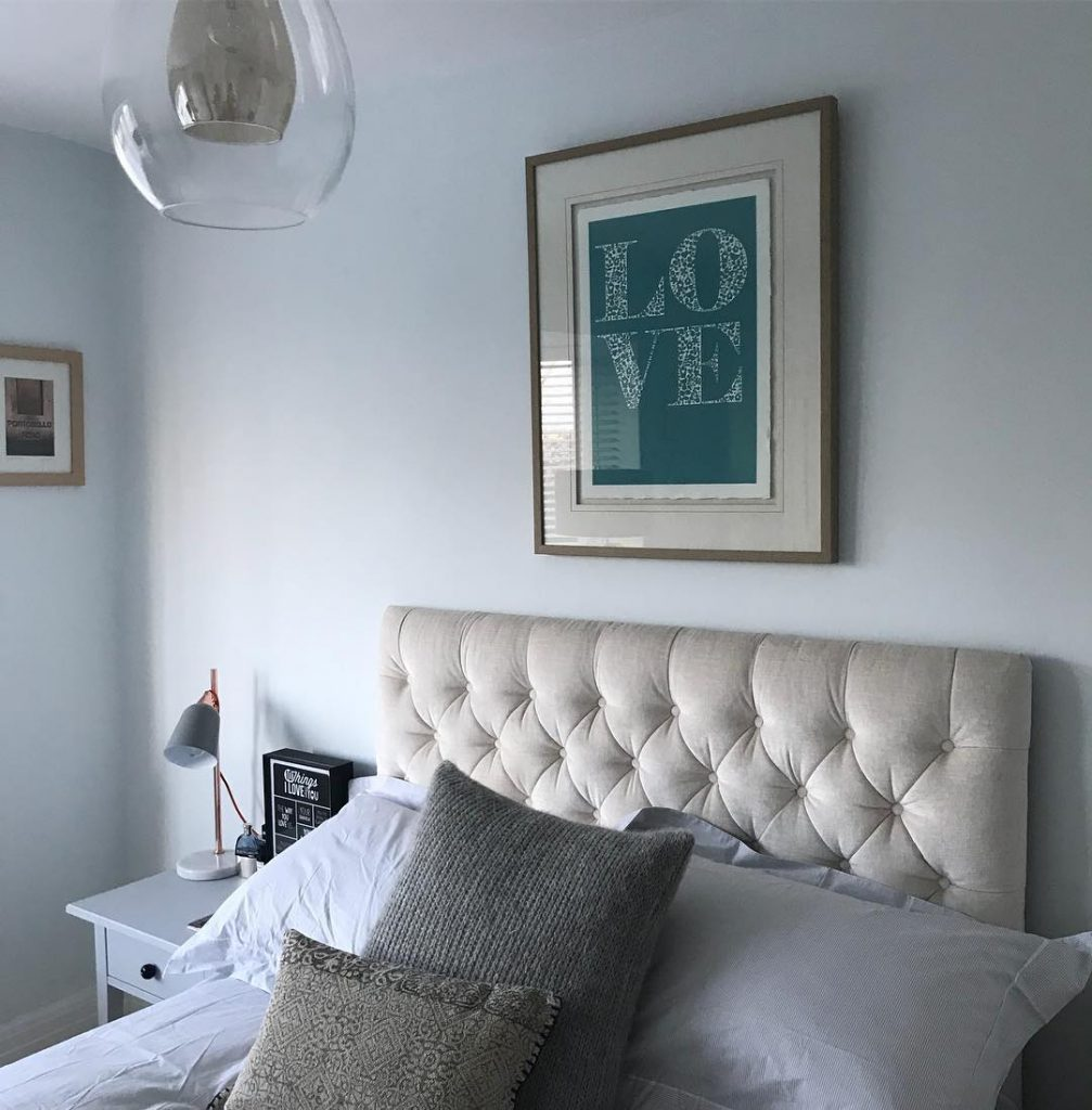 Master bedroom paint color scheme with walls painted in Farrow & Ball Cabbage White