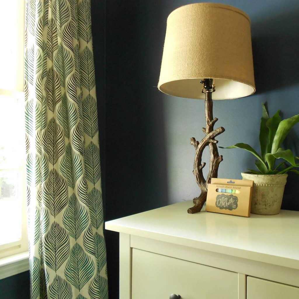 Navy blue bedroom color scheme with walls in Benjamin Moore's Van Deusen Blue Boys Room