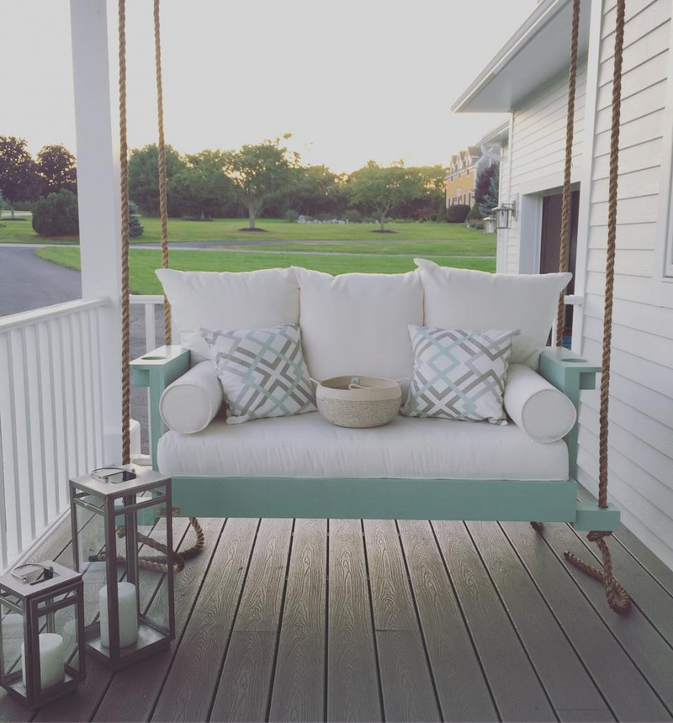 Porch Swing Painted in Benjamin Moore Wythe Blue