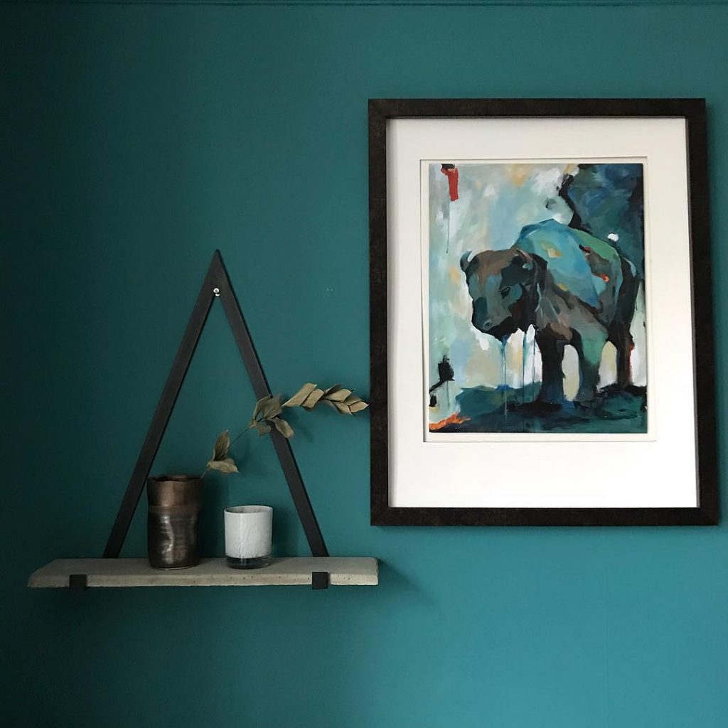 Teal paint color scheme living room painted in Farrow & Ball Vardo