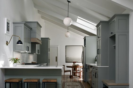 Green White And Grey Kitchen
