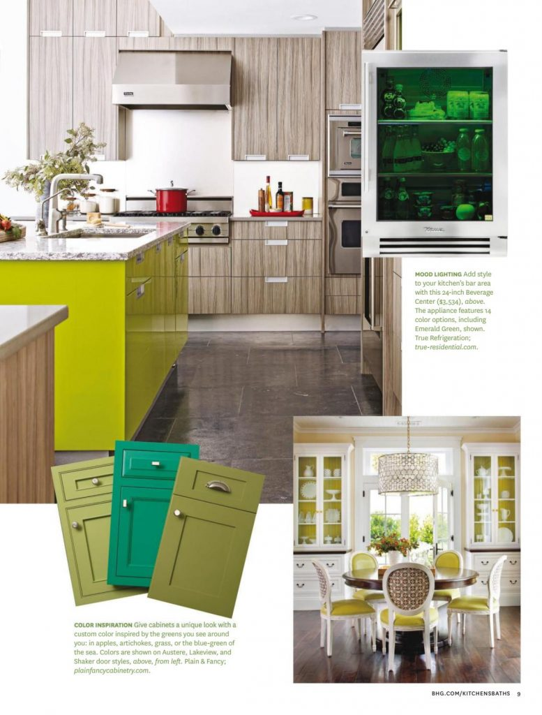kitchen and dining room in green color scheme