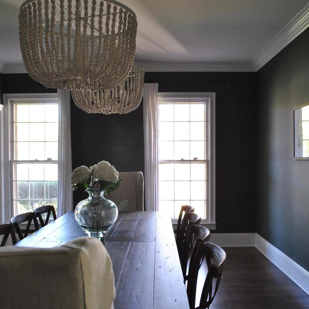 Benjamin Moore Vintage Vogue Dark Green Color Scheme Dining Room