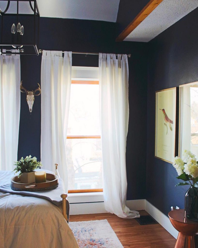 Sherwin Williams Naval Bedroom. Navy Blue Color Scheme for the bedroom