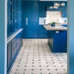 Blue Kitchen Painted in Farrow & Ball Stiffkey Blue. Blue paint color scheme for the kitchen.