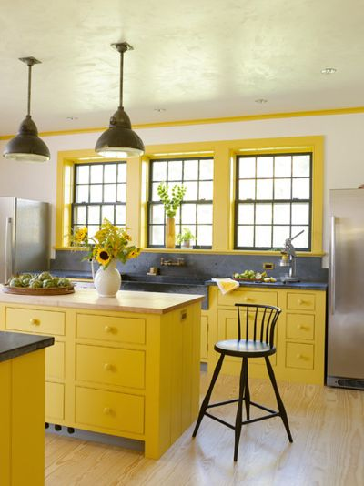 Farrow & Ball Babouche Yellow Painted Kitchen Cabinets