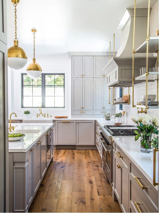 Benjamin Moore Gray Huskie Kitchen Cabinets and Brass Fixtures. Light gray and brass paint color scheme kitchen
