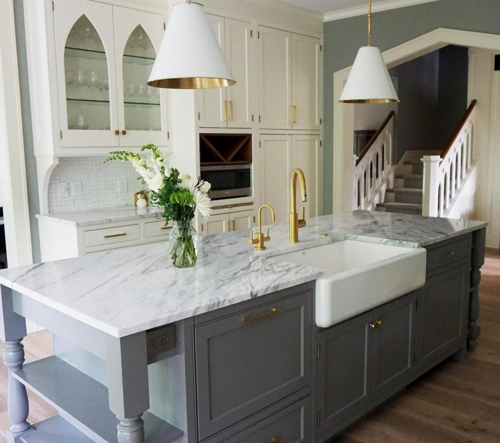 A Kitchen In White And Shades Of Gray With The Island Painted Chelsea