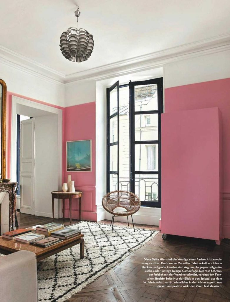 Barbie Pink Wall Paint Color. Living room with pink walls, pink paint color scheme