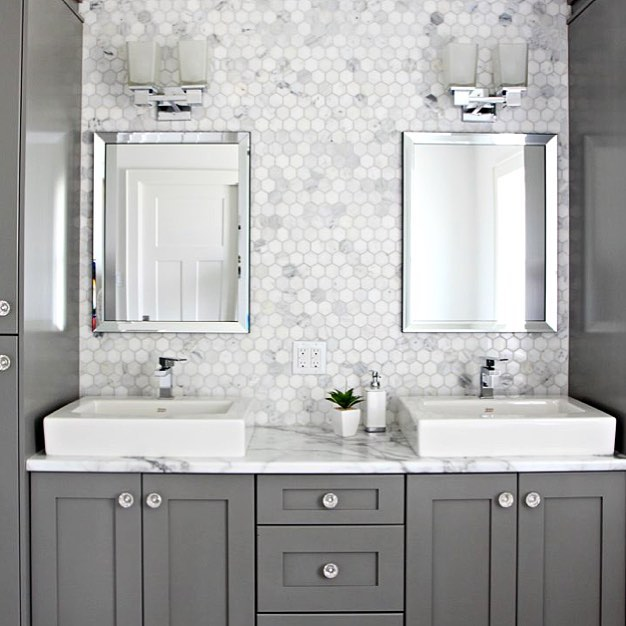 Benjamin Moore Chelsea Gray Painted Bathroom Cabinets