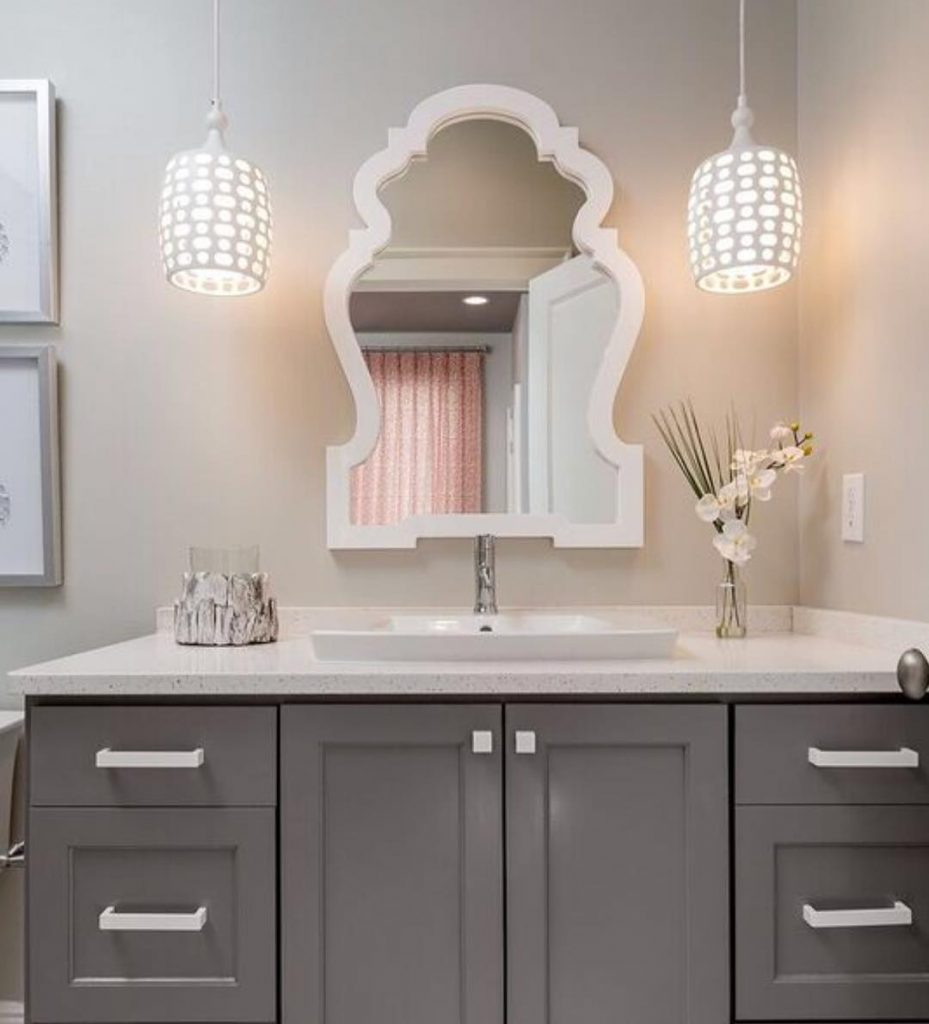 Benjamin Moore Chelsea Gray Bathroom Paint Color Scheme in Medium Gray and White.
