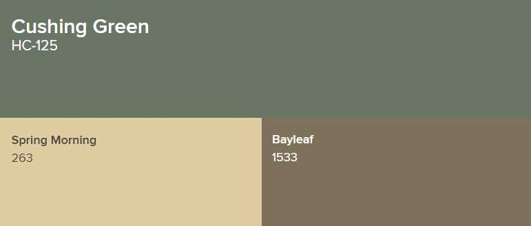 Benjamin Moore Cushing Green Goes with Spring Morning and Bayleaf
