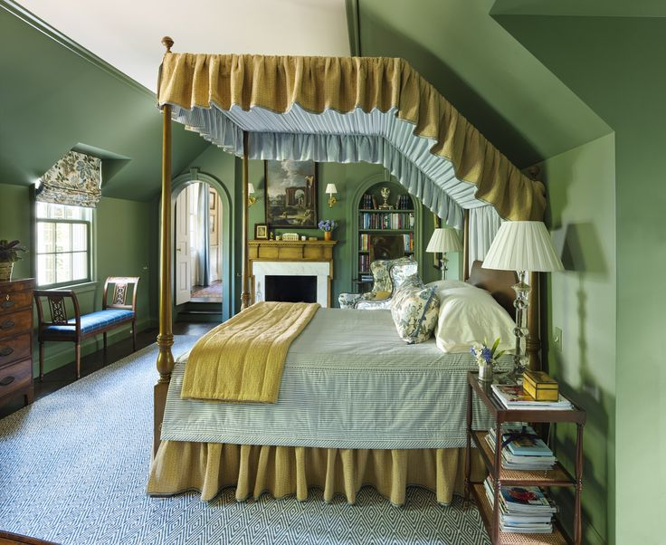 Benjamin Moore Cushing Green Paint Color Schemes Bedroom. Green bedroom color scheme palette.
