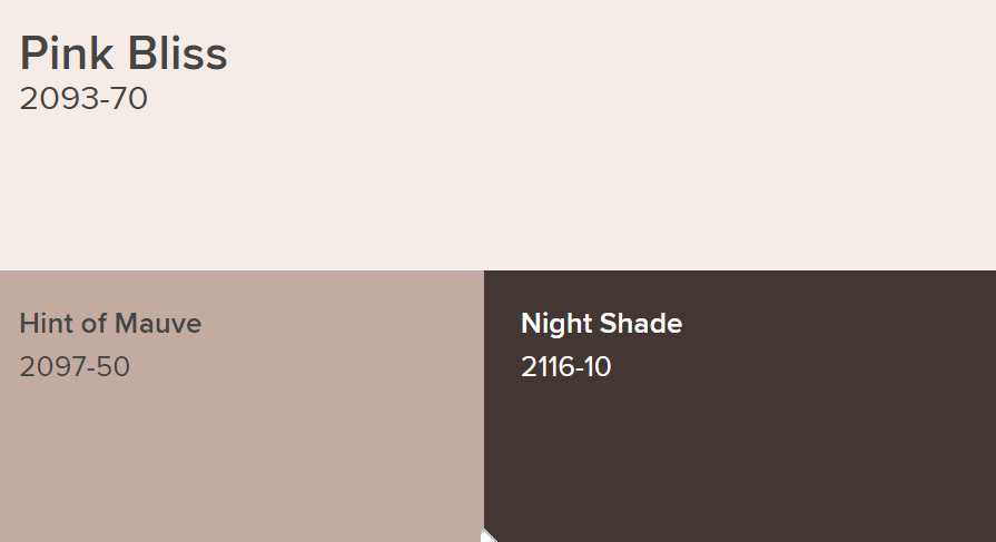 Benjamin Moore Pink Bliss Paint Color Schemes Hint of Mauve and Night Shade