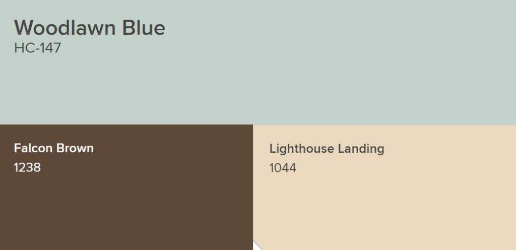 Benjamin Moore Woodlawn Blue, Falson Brown and Lighthouse Landing