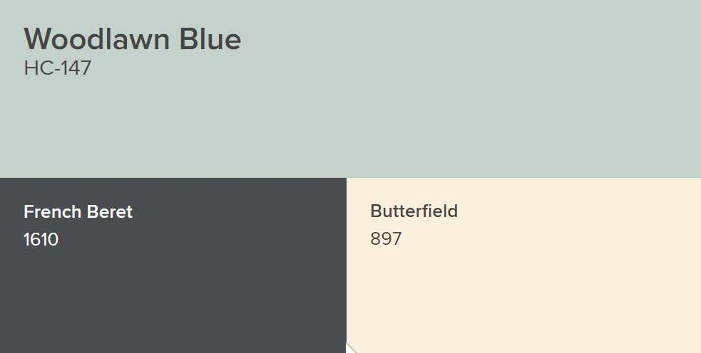 Benjamin Moore Woodlawn Blue, French Beret and Butterfield