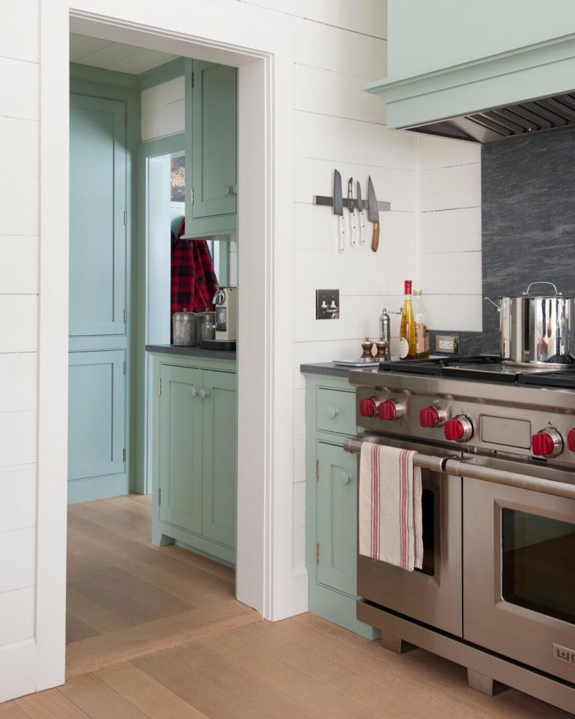 Farrow & Ball Blue Green Painted Kitchen Cabinets