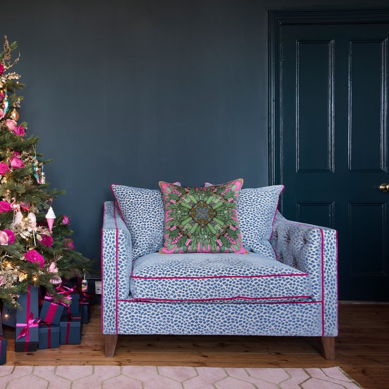 Farrow & Ball Hague Blue and Pink Paint Color Scheme Living Room