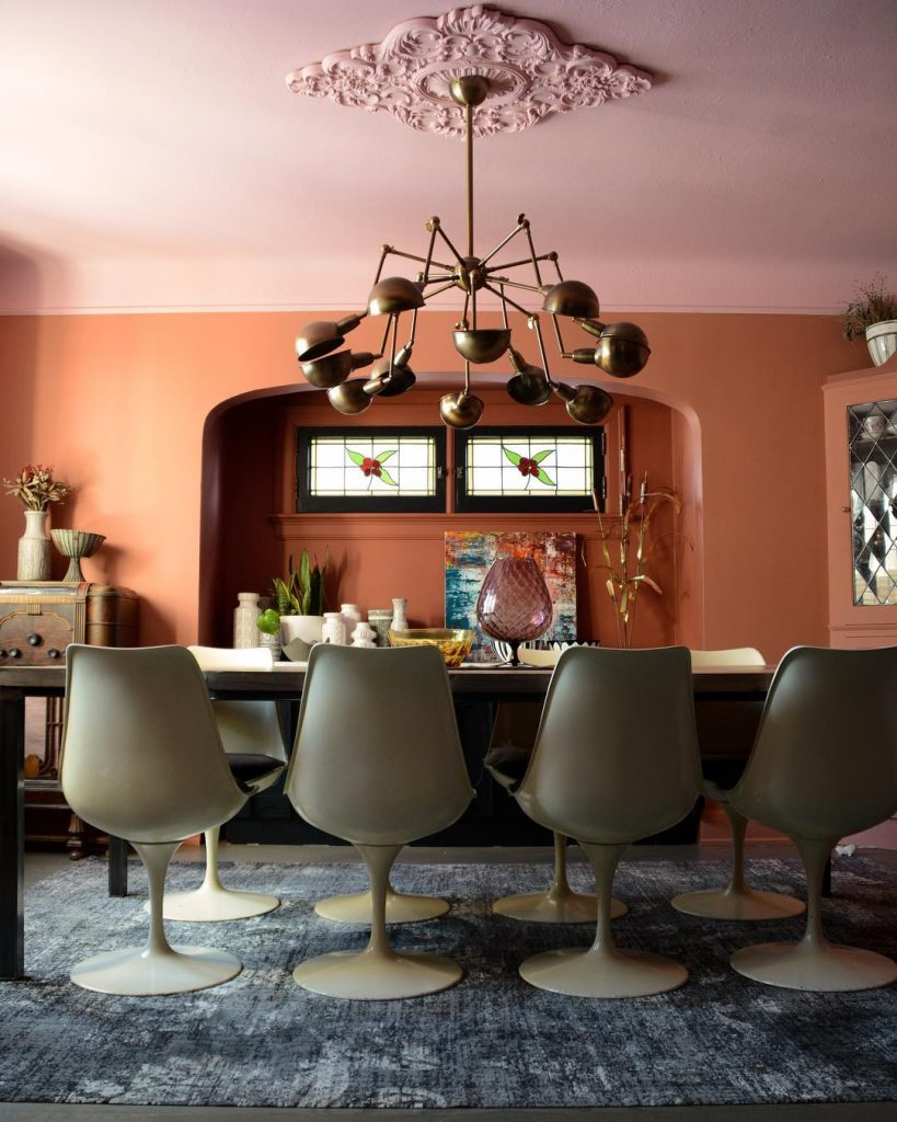 Farrow & Ball Nancy's Blushes Painted Ceiling Pink Color Scheme