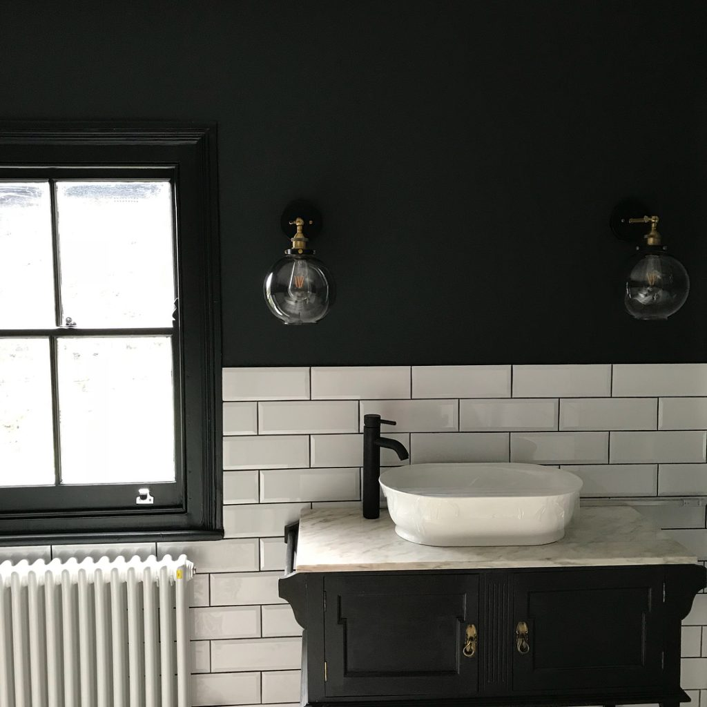 Little Greene Black Lamp Bathroom Walls Black Color Scheme