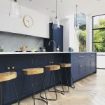 Navy, Marble and Brass Kitchen Decor with herringbone floor