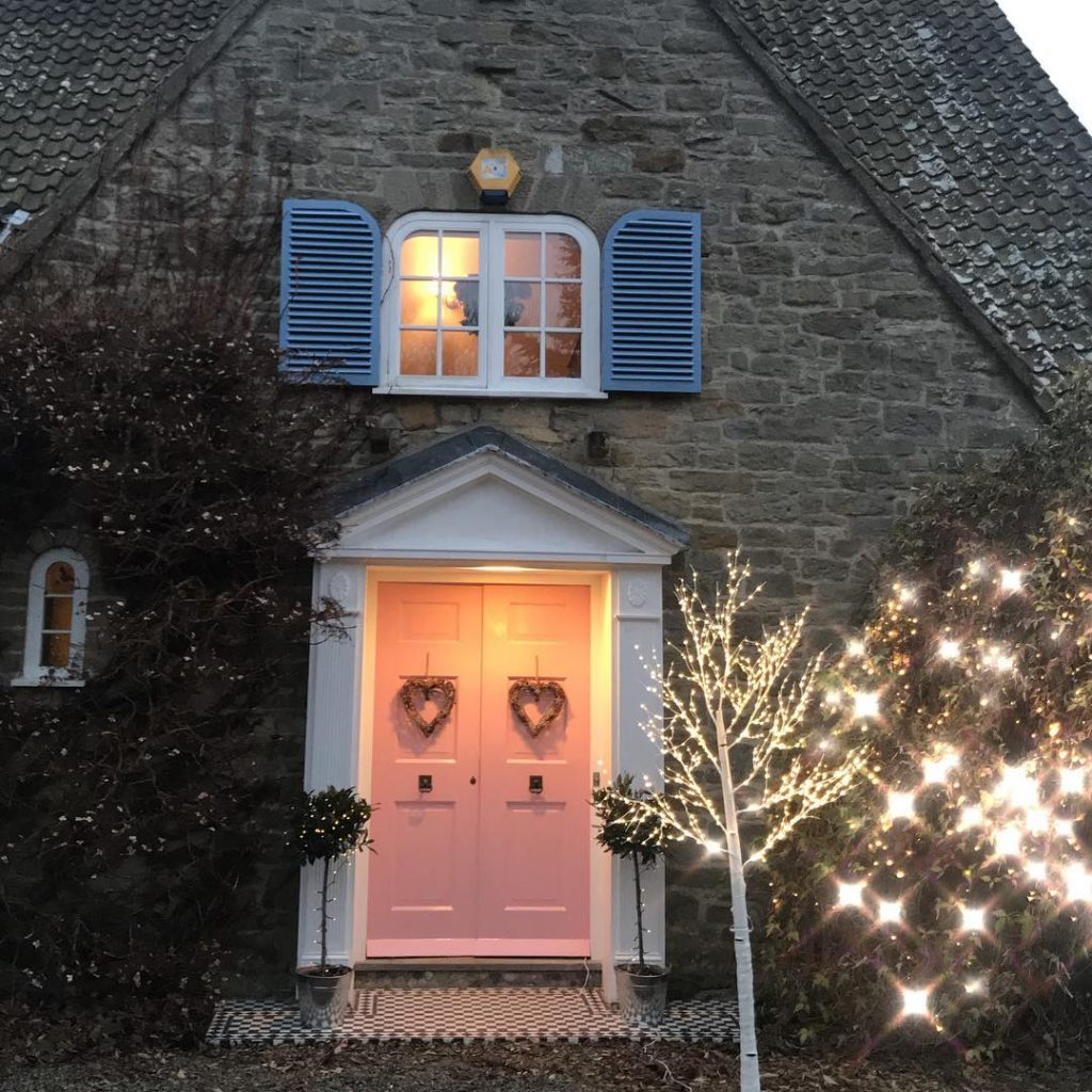 pink front door painted in Nancy's Blushes by Farrow & Ball