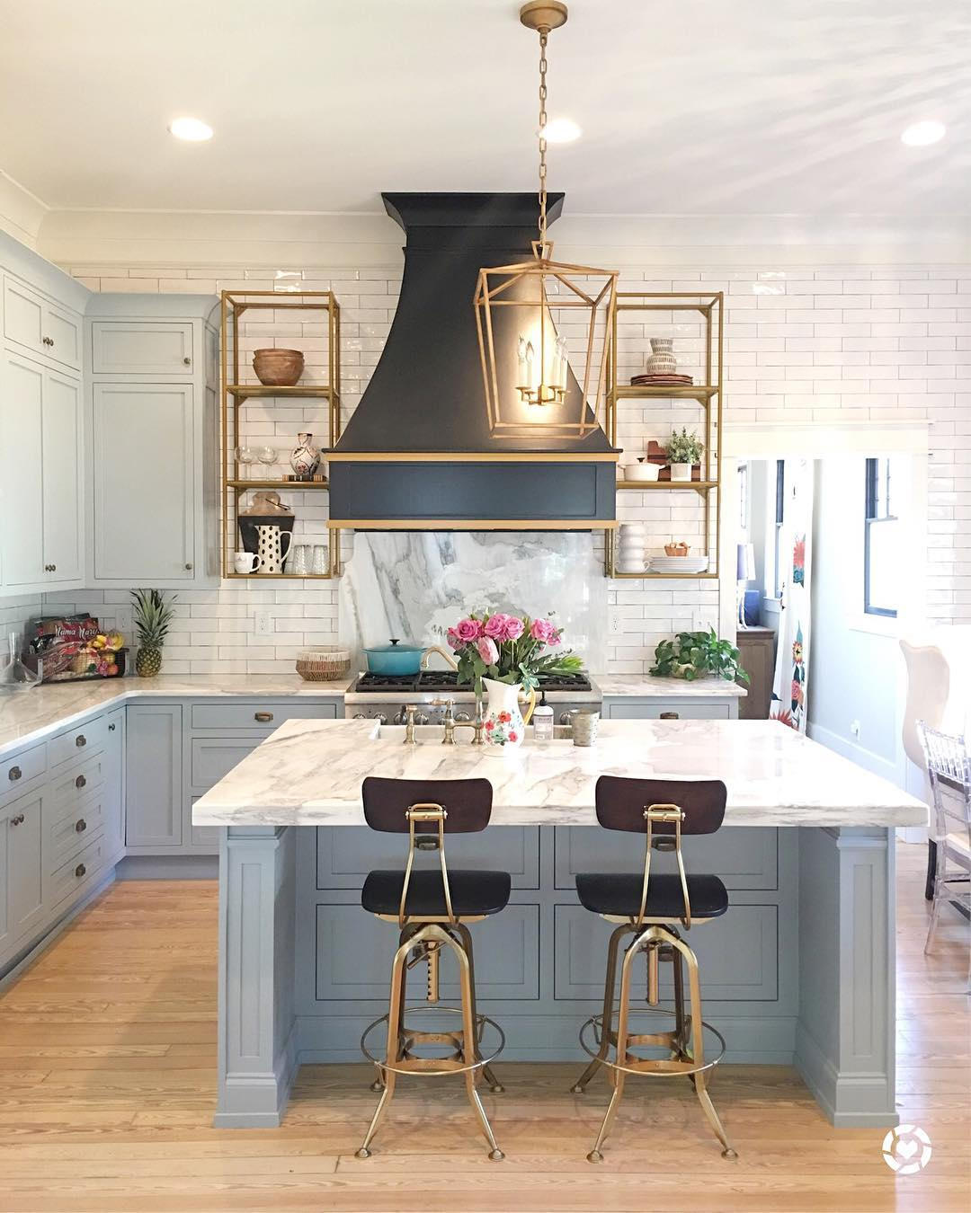 Light Blue Paint, Marble And Brass Kitchen Design