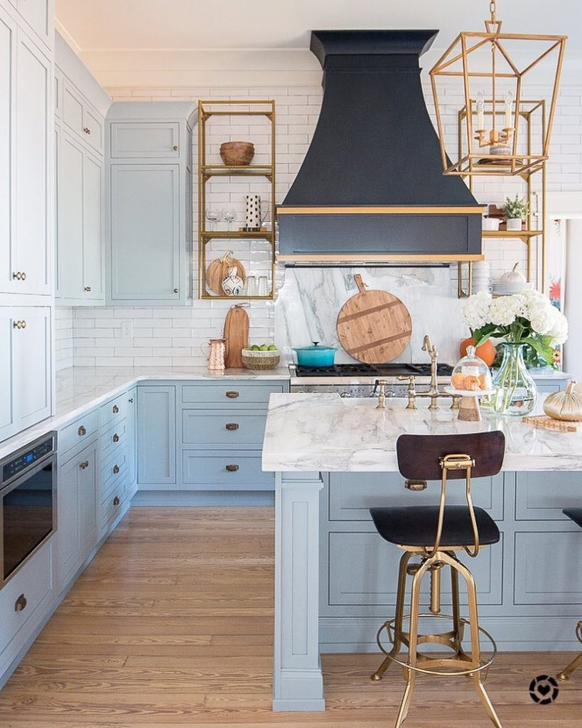 Powder blue and white marble kitchen. Light blue and white paint color scheme kitchen. Powder blue paint palette.