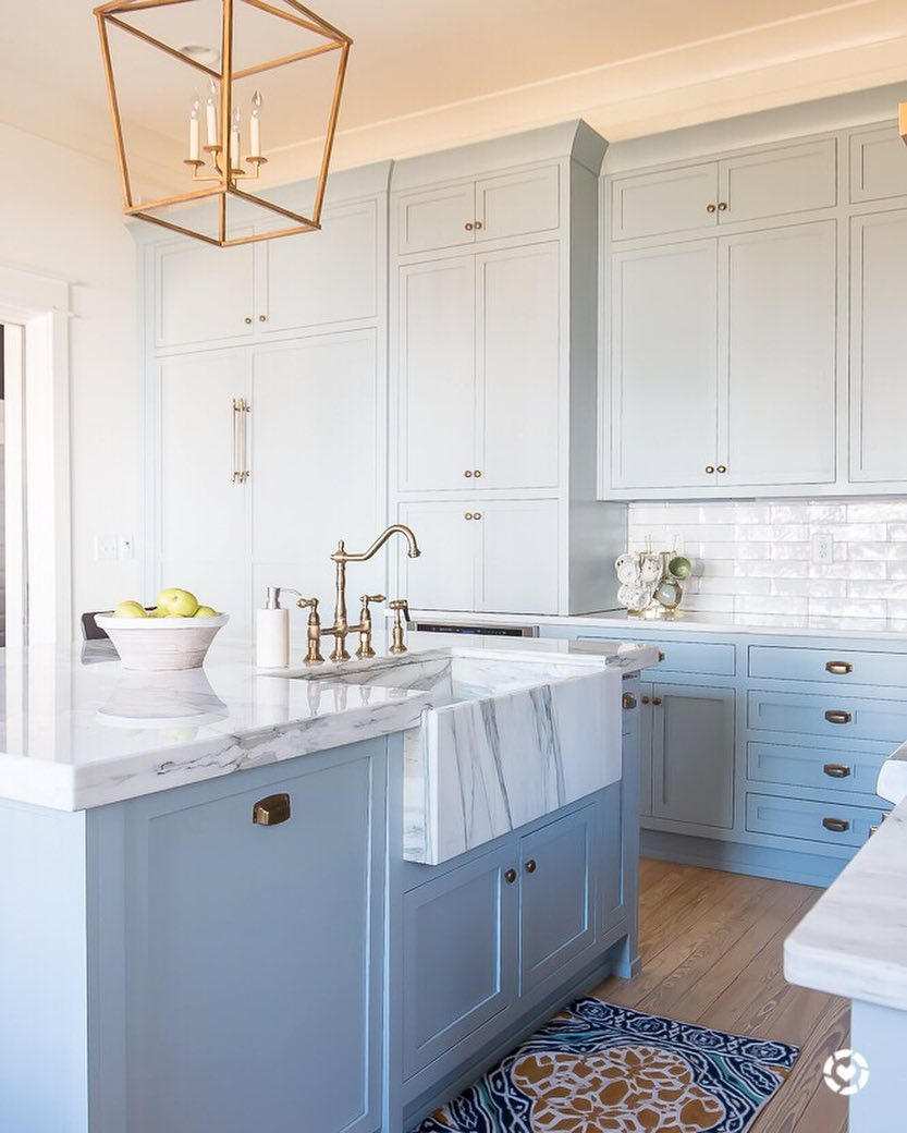 Best Paint For Inside Kitchen Cabinets: Light Blue Paint, Marble And Brass Kitchen Design
