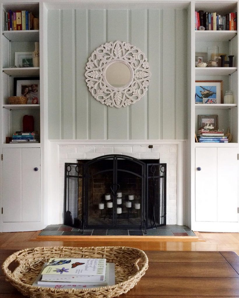 Sherwin Williams Sea Salt Above Mantel Paint Color Scheme