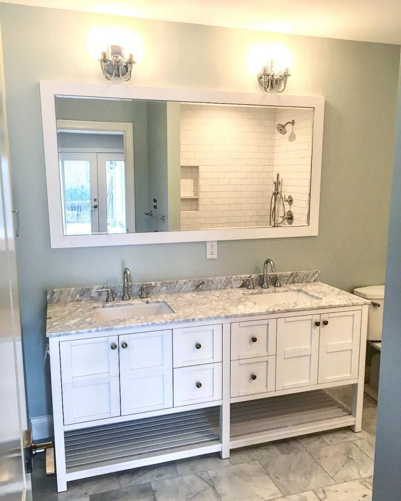 Sherwin Williams Sea Salt bathroom paint color scheme