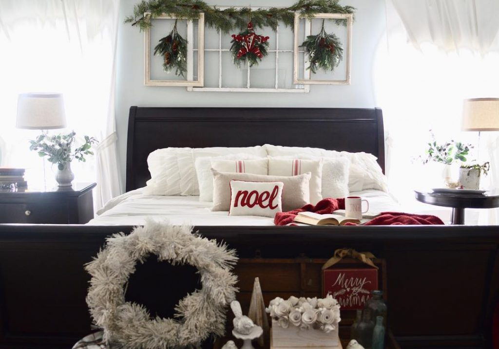 Sherwin Williams Sea Salt bedroom Christmas Decor