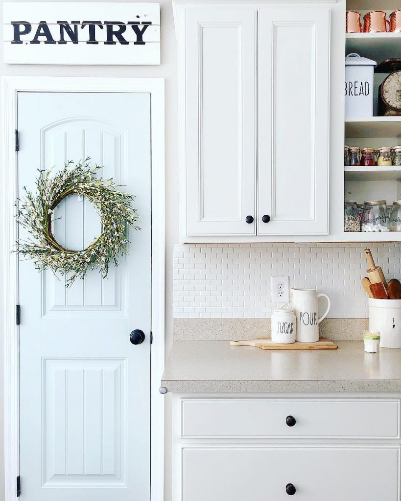 Sherwin Williams Sea Salt kitchen door