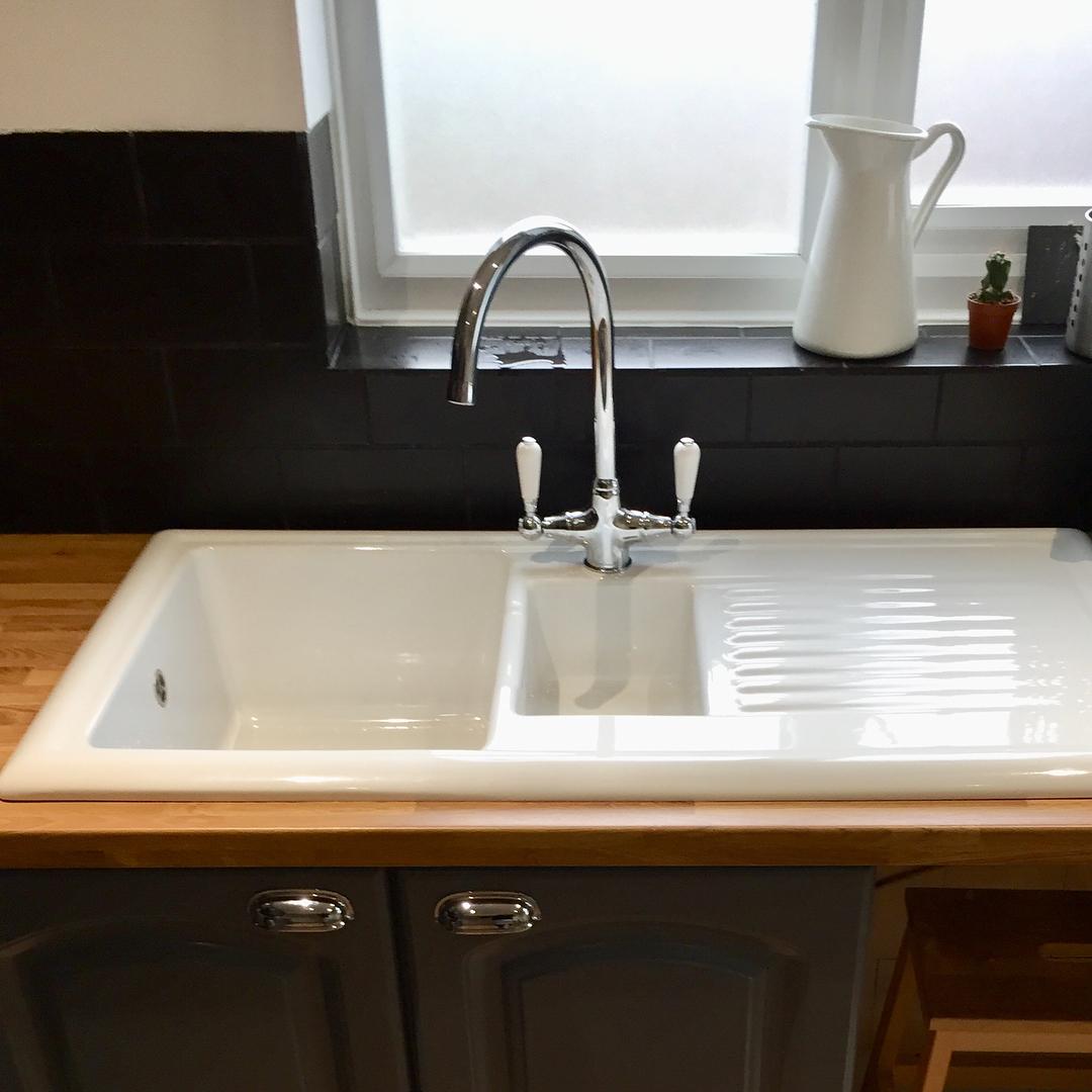 White And Dark Blue Kitchen Cabinets
