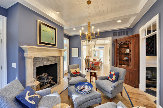 Sherwin Williams Bracing Blue Painted living room walls. Blue paint color scheme living room.