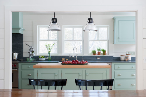 Farrow & Ball Blue Green Paint Color Farmhouse Kitchen Paint Color Scheme.