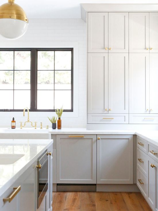 Benjamin Moore Gray Huskie Kitchen Cabinets And Brass
