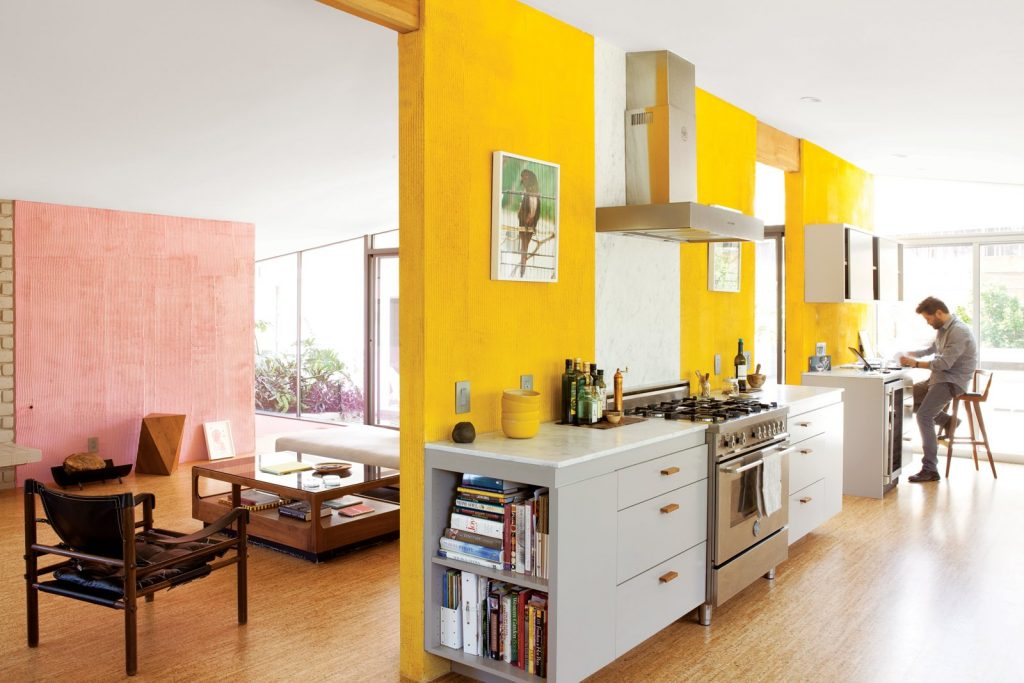 Benjamin Moore American Cheese and Blushing Bride Kitchen Pink and Yellow Color Scheme