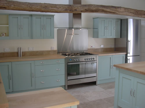 Farrow & Ball Blue Green Paint Color for the Kitchen Cabinets.