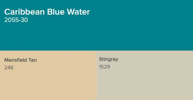 Benjamin Moore Caribbean Blue Water goes with Mansfield Tan and Stingray