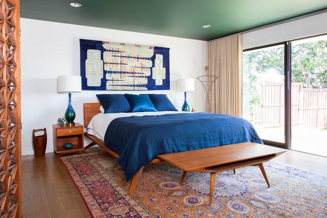 Benjamin Moore Chimichurri Painted Ceiling Bedroom. Blue and green bedroom color scheme.