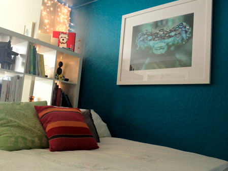 Bedroom With Teal Accent Wall