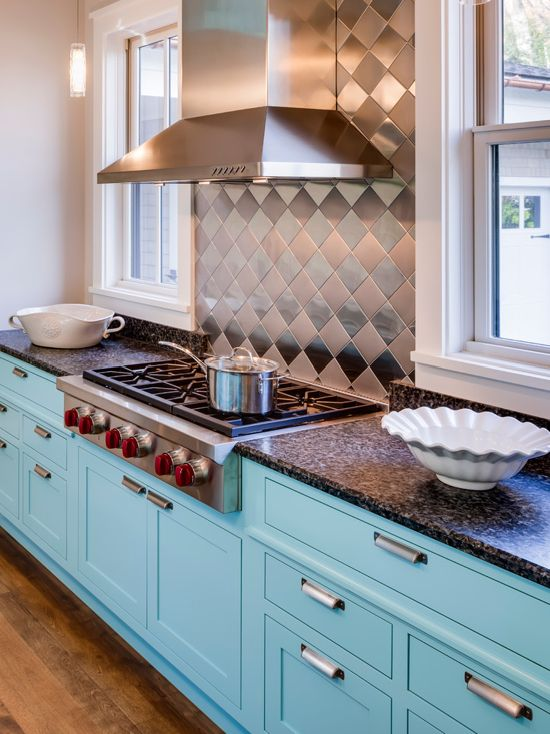Cabinet Paint - Benjamin Moore Spectra Blue Trim Paint - Benjamin Moore Cotton Balls Wall Paint - Benjamin Moore Winds Breath blue kitchen