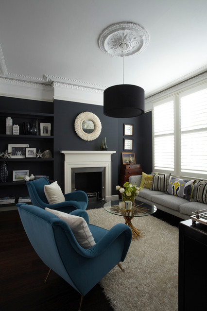 Farrow & Ball Hague Blue Paint Color Schemes Living Room