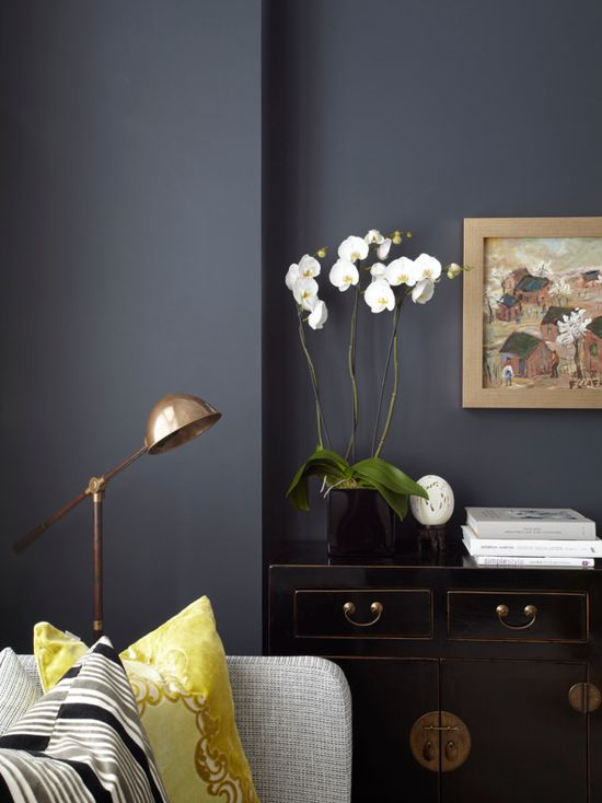 Farrow & Ball Hague Blue Paint Color Schemes Living Room 1