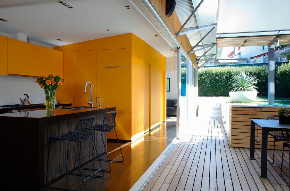 Modern Kitchen in Mustard Yellow Color Scheme. Yellow kitchen cabinets